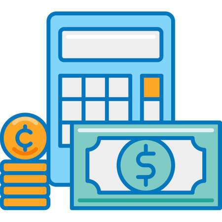 Flat vector icon illustration of calculator and money. Finance concept for story highlights cover.
