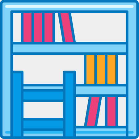 Flat vector icon illustration of library bookshelf for story highlights cover Çizim