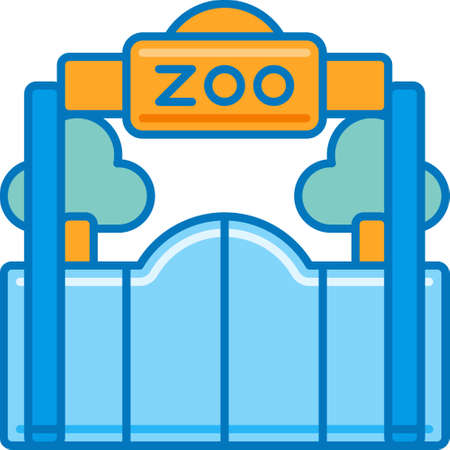 Vector flat icon illustration of zoo entrance for story highlights cover