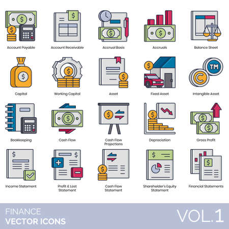 Finance icons including account payable, receivable, accrual basis, balance sheet, working capital, fixed asset, intangible, bookkeeping, cash flow, projection, depreciation, gross profit, income statement, loss, shareholder equity, financial. Ilustração