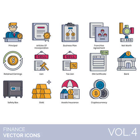 Finance icons including principal, articles of incorporation, business plan, franchise agreement, net worth, retained earnings, tax lien, EIN certificate, bank, safety box, gold, asset insurance, cryptocurrency.