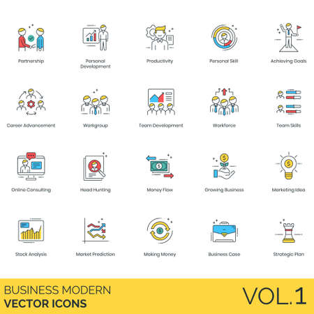 Business icons including partnership, personal development, productivity, skill, achieving goals, career advancement, workgroup, team, workforce, online consulting, head hunting, flow, growing, marketing idea, stock analysis, market prediction, making money, case, strategic plan. Illustration