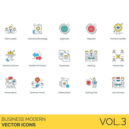 Business icons including team leader, technical advantage, approved, rejected, premium quality, service, conflict of interest, paperwork, meeting, partnership, presentation, travel, coffee break, getting fired, job interview.
