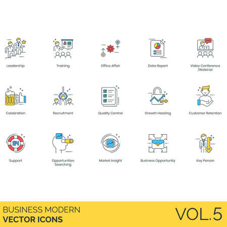 Business icons including leadership, training, office affair, data report, video conference, webinar, celebration, recruitment, quality control, growth hacking, customer retention, support, opportunity searching, market insight, key person.