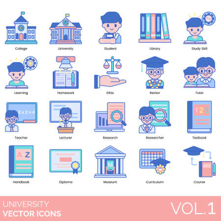 University icons including college, student, library, study skill, learning, homework, ethic, rector, tutor, teacher, lecturer, research, researcher, textbook, handbook, diploma, museum, curriculum, course. Illustration