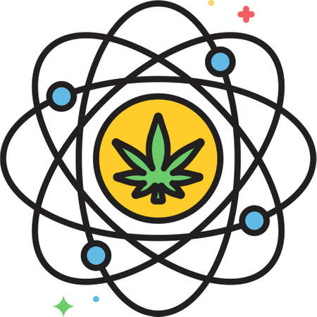Flat vector icon illustration of cannabis entourage effect