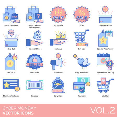 Cyber monday icons including buy 2 get 1 free, mystery item, super sale, clearance, sold out, special offer, exclusive, now, price today, hot, best seller, promotion, early bird, top deals of the day, membership, barcode, start, payment, wishlist. Çizim