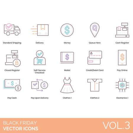 Black friday icons including standard shipping, money, queue here, cash register, closed, self service checkout, wallet, credit debit card, online, pay upon delivery, clothes, electronics.