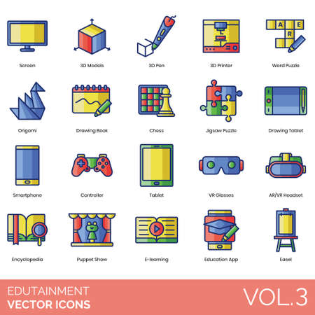 Edutainment icons including screen, 3d model, pen, printer, word puzzle, origami, drawing book, chess, jigsaw, tablet, smartphone, controller, VR glasses, AR headset, encyclopedia, puppet show, e-learning, education app, easel.