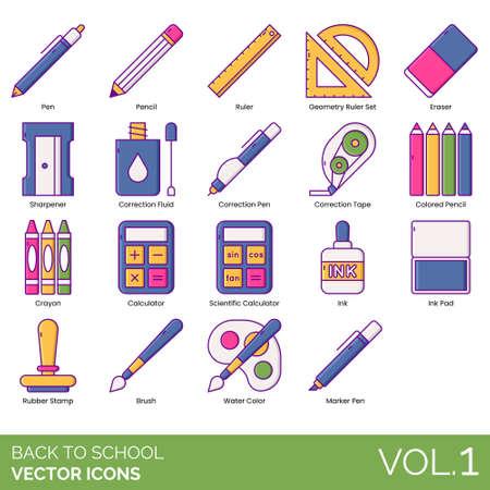 Icônes de retour à l'école, y compris un stylo, un jeu de règles géométriques, une gomme, un taille-crayon, un liquide correcteur, du ruban adhésif, un crayon de couleur, un crayon, une calculatrice scientifique, un tampon encreur, un tampon en caoutchouc, un pinceau, une aquarelle, un marqueur. Vecteurs