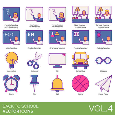 Back to school icons including female, male, teacher with blackboard, whiteboard, laboratory, math, english, chemistry, physics, biology, innovation, scissors, PC, bus, glasses, alarm, pin, bell, sports, paper plane. Иллюстрация