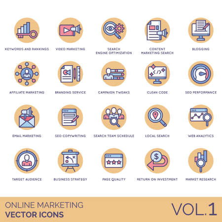 Online marketing icons including keywords, rankings, video, search engine optimization, content, blogging, affiliate, branding service, campaign tweaks, clean code, seo performance, email, copywriting, team schedule, local, web analytics, target audience, business strategy, page quality, return on investment, market research.