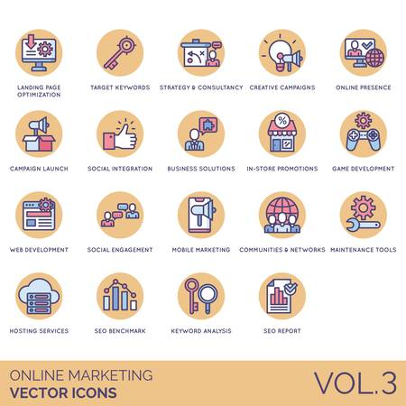 Online marketing icons including landing page optimization, target keyword, strategy, consultancy, creative campaign, presence, launch, social integration, business solution, in store promotion, game development, web, engagement, mobile, community, network, maintenance tools, hosting service, seo benchmark, analysis, report.
