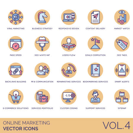 Online marketing icons including viral, business strategy, responsive design, content delivery, market watch, page speed, white hat, users flow, goals completion, seo tags, backlink building, pr, communication, remarketing service, bookmarking, smart alert, e-commerce solution, portfolio, custom coding, support, sitemap. Illustration
