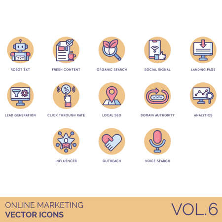 Online marketing icons including robot txt, fresh content, organic search, social signal, landing page, lead generation, click through rate, local seo, domain authority, analytics, influencer, outreach, voice. Illustration