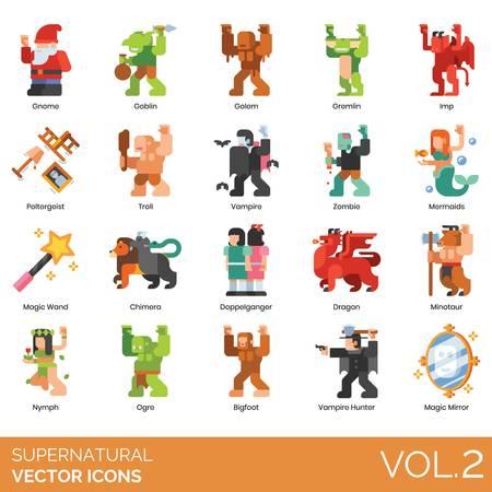 Icônes surnaturelles, y compris gnome, gobelin, golem, gremlin, diablotin, poltergeist, troll, zombie, sirène, baguette magique, chimère, doppelganger, dragon, minotaure, nymphe, ogre, bigfoot, chasseur de vampires, miroir. Vecteurs