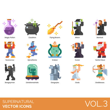 Supernatural icons including magic potion, cauldron, flying broom, witch, warlock, scarecrow, djinn, genie, kraken, curse, santa claus, boogeyman, extraterrestrial, gargoyle, gods, goddesses.