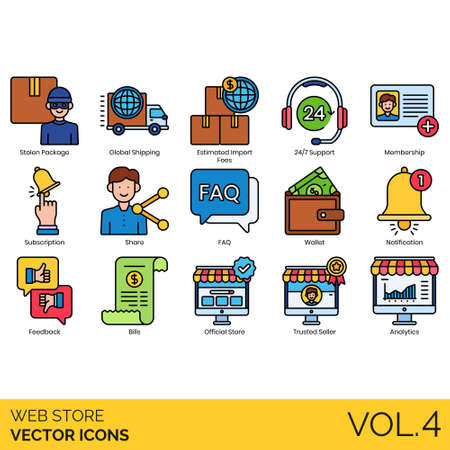 Web store icons including stolen package, global shipping, estimated import fee, 24 7 support, membership, subscription, share, faq, wallet, notification, feedback, bills, official, trusted seller, analytics.