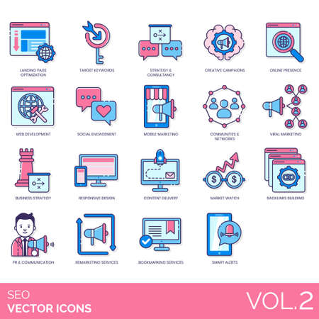 SEO icons including landing page optimization, target keyword, consultancy, creative campaign, online presence, web development, social engagement, mobile marketing, community, network, viral, business strategy, responsive design, content delivery, market watch, backlink building, PR, communication, remarketing service, bookmarking, smart alert. Stock Vector - 136313166