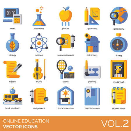 Online education icons including math, chemistry, physics, geometry, geography, biology, science, research, astronomy, timing, history, music, sports, painting, modern art, back to school, assignment, home, favorite lesson, student notes. Векторная Иллюстрация