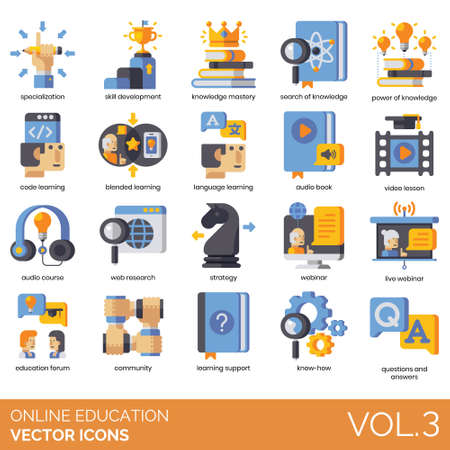 Online education icons including specialization, skill development, knowledge mastery, search, power, code learning, blended, language, audio book, video lesson, course, web research, strategy, live webinar, forum, community, support, know-how, question and answer.