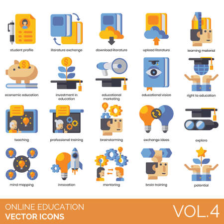Online education icons including student profile, literature exchange, download, upload, learning material, economic, investment, educational marketing, vision, right, teaching, professional training, brainstorming, ideas, explore, mind mapping, innovation, mentoring, brain, potential.