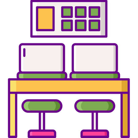 Flat vector icon illustration of coworking space shared desk Illusztráció