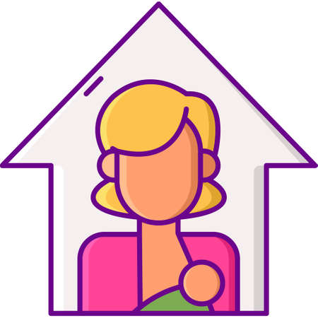 Vector flat icon illustration of a mother breastfeeding her baby. Lactation room concept.