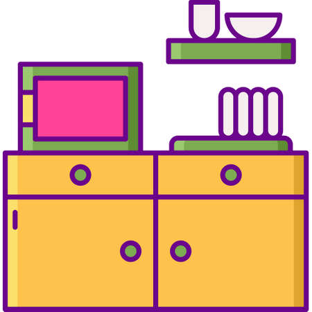 Vector flat icon illustration of coworking space pantry. Microwave, dishes, and cupboard.