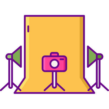 Vector flat icon illustration of photoshoot studio with equipment. Lightings, camera, and backdrop.
