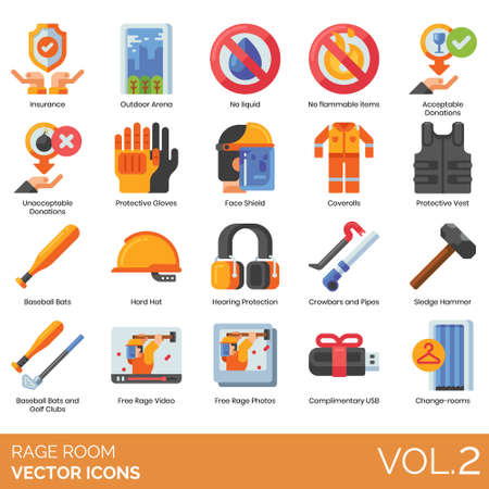 Rage room icons including insurance, outdoor arena, no liquid, flammable items, acceptable donation, unacceptable, protective gloves, face shield, coveralls, vest, baseball bat, hard hat, hearing protection, crowbars, pipes, sledgehammer, golf club, free video, photo, complimentary usb, change.