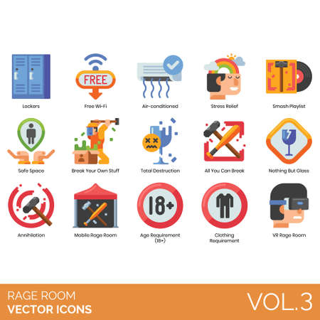 Rage room icons including lockers, free wifi, air conditioner, stress relief, smash playlist, safe space, your own stuff, total destruction, all you can break, nothing but glass, annihilation, mobile, age requirement, clothing, VR. Vector Illustration