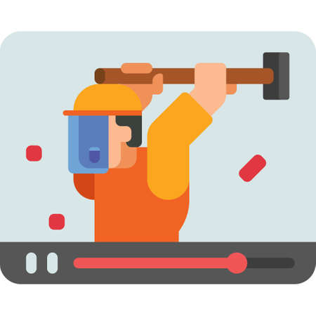 Flat vector icon illustration of man with face shield smashing on media player interface. Free rage video concept.