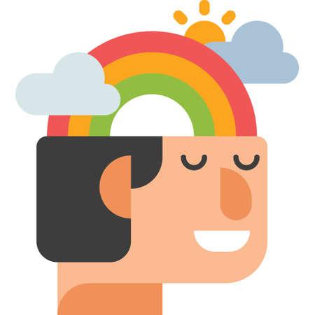 Flache Ikonenvektorillustration des Mannes mit Regenbogen in seinem Kopf. Konzept zum Stressabbau.