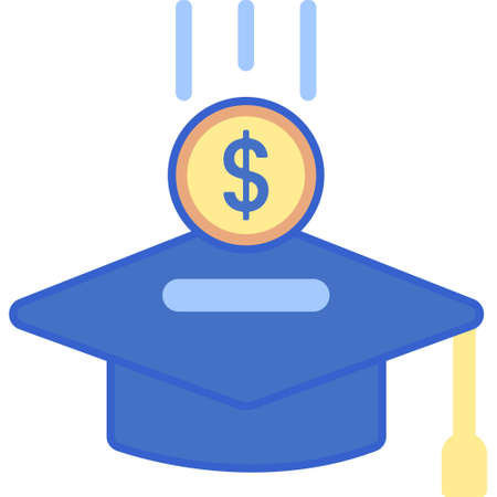 Flat vector icon illustration of putting money in graduation cap. Investment in education concept.