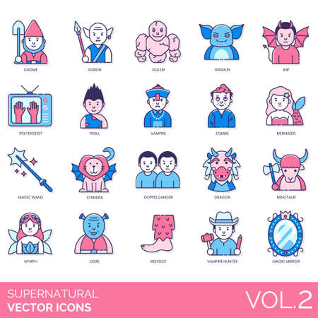 Supernatural icons including gnome, goblin, golem, gremlin, imp, poltergeist, troll, zombie, mermaid, magic wand, chimera, doppelganger, dragon, minotaur, nymph, ogre, bigfoot, vampire hunter, mirror.