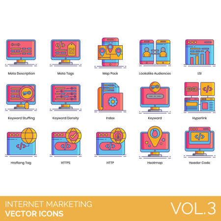 Internet marketing icons including meta description, tags, map pack, lookalike audiences, LSI, keyword stuffing, density, index, hyperlink, hreflang, HTTPS, HTTP, heatmap, header code.