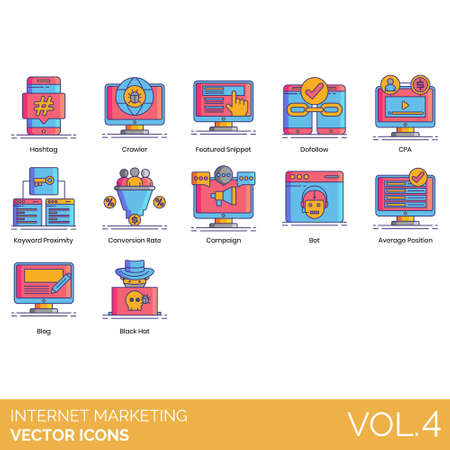 Internet marketing icons including hashtag, crawler, featured snippet, dofollow, CPA, keyword proximity, conversion rate, campaign, bot, average position, blog, black hat.