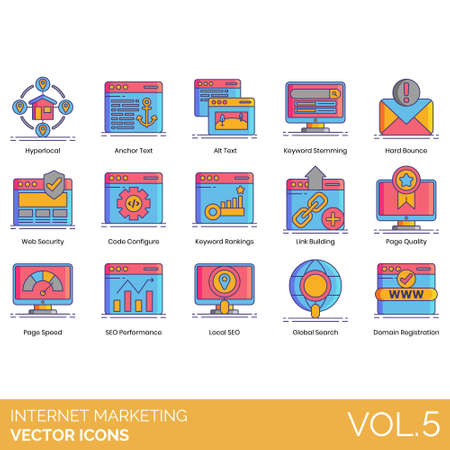 Internet marketing icons including hyperlocal, anchor text, alt, keyword stemming, hard bounce, web security, code configure, ranking, link building, page quality, speed, performance, local SEO, global search, domain registration.