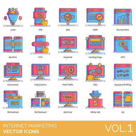 Internet marketing icons including lead, CTR, SEM, SERP, bounce rate, backlink, CTA, keyword, landing page, CPC, conversion, impression, paid traffic, SEO, stuffing, 301 redirect, 302, 404 error, whit
