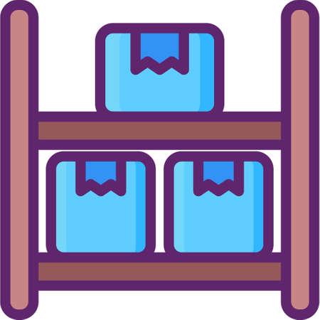 Flat vector icon illustration of shelf with boxes. Logistics warehouse capacity concept. Ilustração