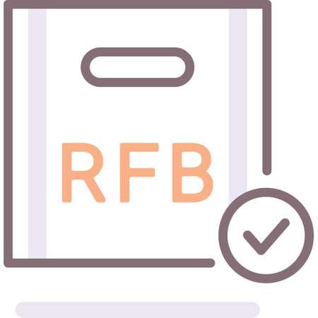 Flat vector icon illustration of rfb room food beverage comps package. Casino gambling concept. Ilustração