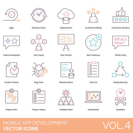 Mobile app development icons including agile, release cycle, deployment, customer rating, review, feature request, use case, user stories, whats new, version history, bug fixes, note, task list, dependencies, project plan, status, collaboration, dashboard, deadline. 向量圖像