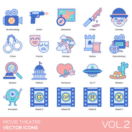 Movie theater icons including no recording, action, adventure, thriller, comedy, crime, drama, fantasy, history, documentary, mystery, political, romance, sci-fi, western, animation, rated G, GP, R, X.