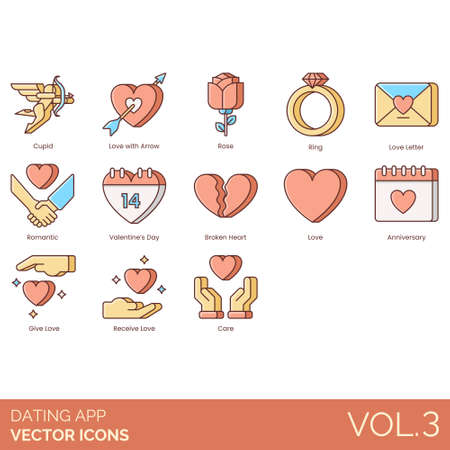 Dating app icons including cupid, love with arrow, rose, ring, letter, romantic, valentines day, broken heart, anniversary, give, receive, care.