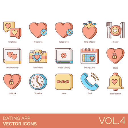 Dating app icons including chatting, true, false, king of love, dinner, library, take photo, video, date, block, unblock, timeline, more, call, notification.