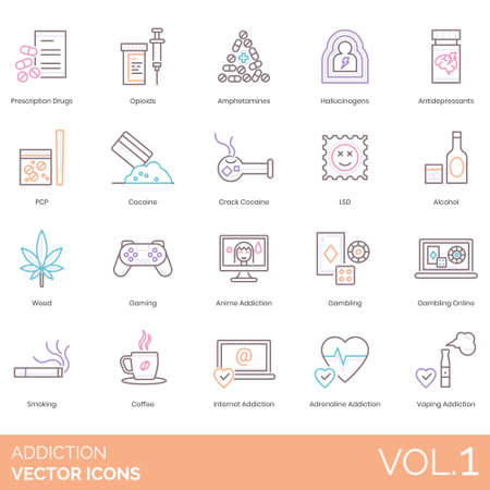 Addiction icons including prescription drugs, opioids, amphetamines, hallucinogens, antidepressants, PCP, crack cocaine, LSD, alcohol, weed, gaming, anime, gambling online, smoking, coffee, internet,
