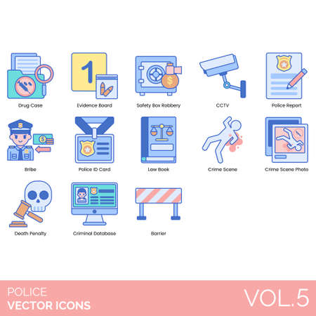 Police icons including drug case, evidence board, safety box robbery, CCTV, report, bribe, ID card, law book, crime scene photo, death penalty, criminal database, barrier. Illustration