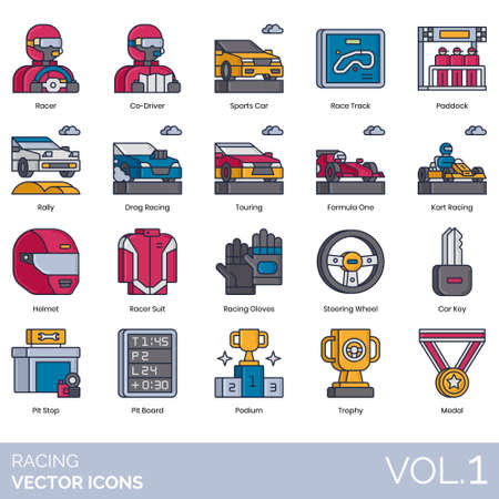 Racing icons including racer, co-driver, sports car, track, paddock, rally, drag, touring, formula racing car, kart, helmet, suit, gloves, steering wheel, key, pit stop, board, podium, trophy, medal. Vektorgrafik