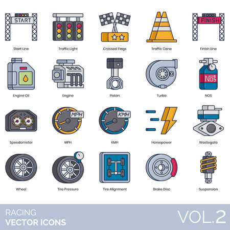 Racing icons including start line, traffic light, crossed flag, cone, finish, engine oil, piston, turbo, NOS, speedometer, MPH, KMH, horsepower, wastegate, wheel, tire pressure, alignment, brake disc, suspension.
